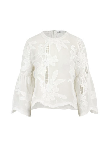 White Embroidered Lace Flare Sleeve Top