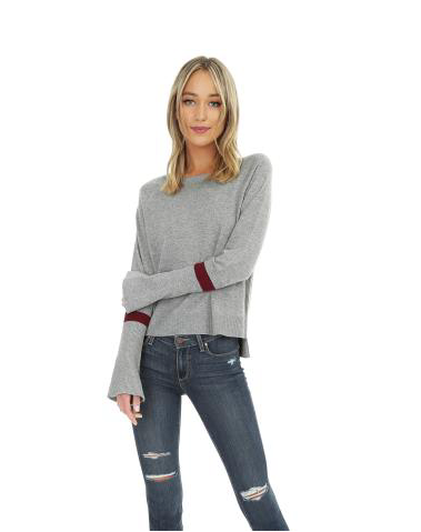 Grey Bell Sleeve Sweater with Burgundy Stripe