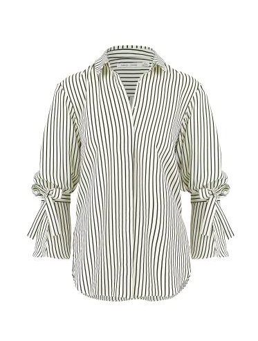 Black Stripe Long Sleeve Tie Top