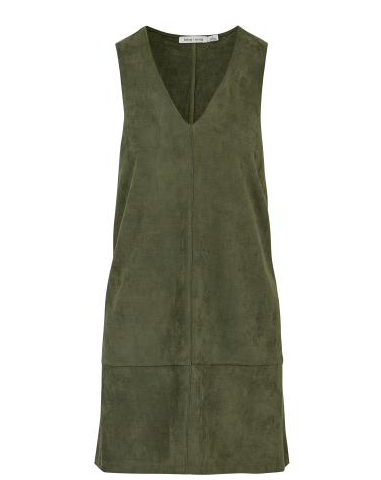 Olive Green V-neck Shift Dress