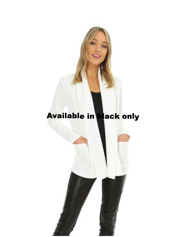 Black Fleece Open Front Cardigan