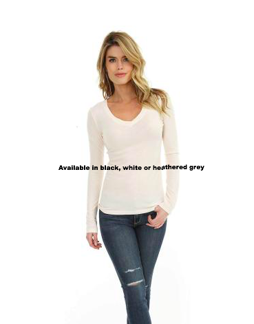 Long Sleeve V-Neck Fitted Tee