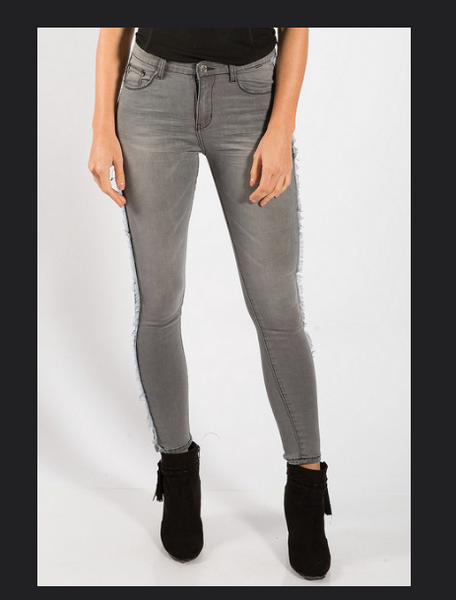 Black or Charcoal Fray Side Skinny Jeans