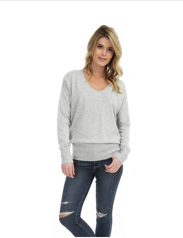 Ivory Long Sleeve V-Neck Keyhole Back Sweater
