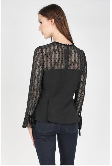Black Mesh Dot Peplum Top