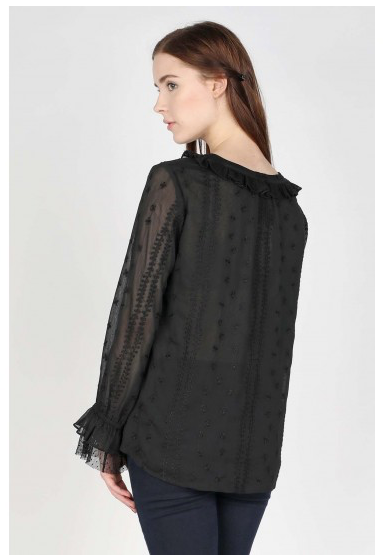 Black Embroidered Long Sleeve Chiffon Top