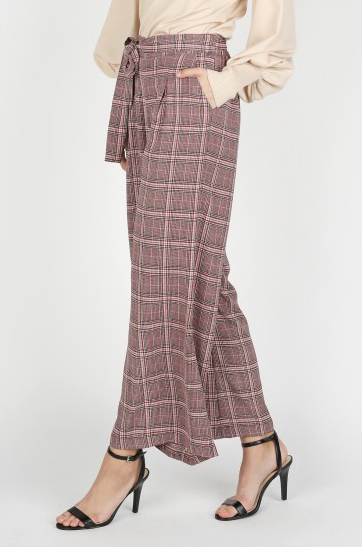 Burgundy Plaid High Waisted Pants