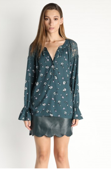 Teal Floral Print V-Neck Peasant Top