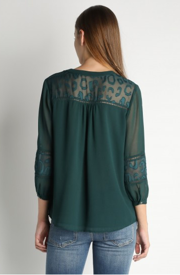 Emerald Green Top with Lace Detail