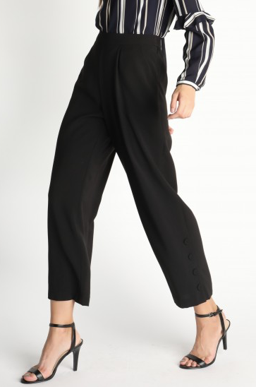 Black Wide Leg Pleated Pants