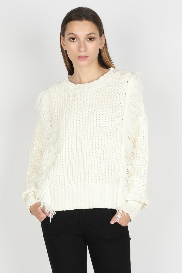 Cream Sweater with Front Fringe Detail