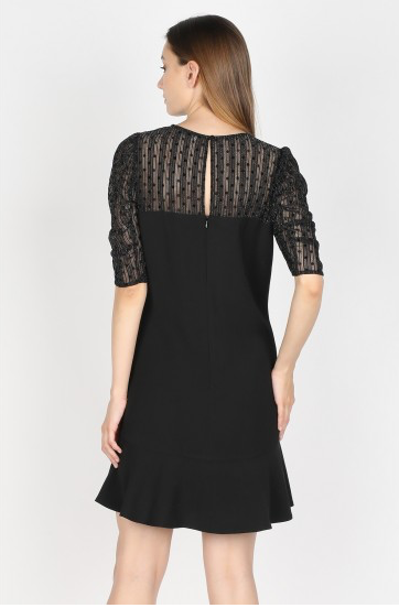 Black Short Jacquard Print Dress