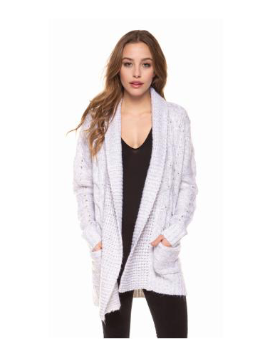Long Sleeve Light Heather Grey Cable Knit Cardigan