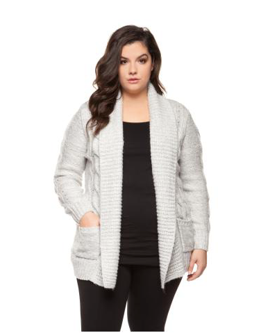 Plus Size Light Heather Grey Cable Knit Cardigan