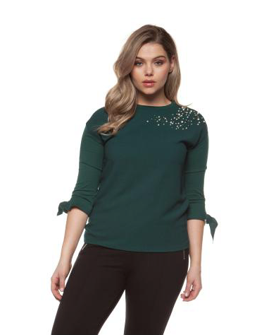 Plus Size Jade Green Top with Pearls