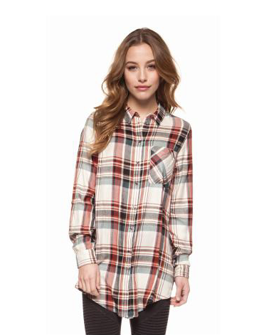 Fall Plaid Button Down Tunic Top