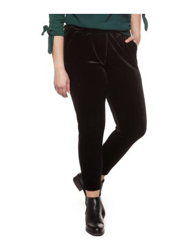 Plus Size Black Velour Pants with Tie Belt