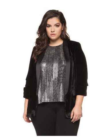 Plus Size Black Velour Blazer with Satin Trim