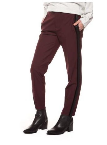 Burgundy Pants with Black Side Seam