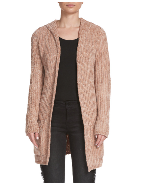 Sand Chenille Hooded Cardigan