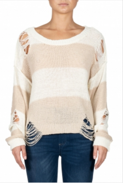 Striped Sweater with Distressing