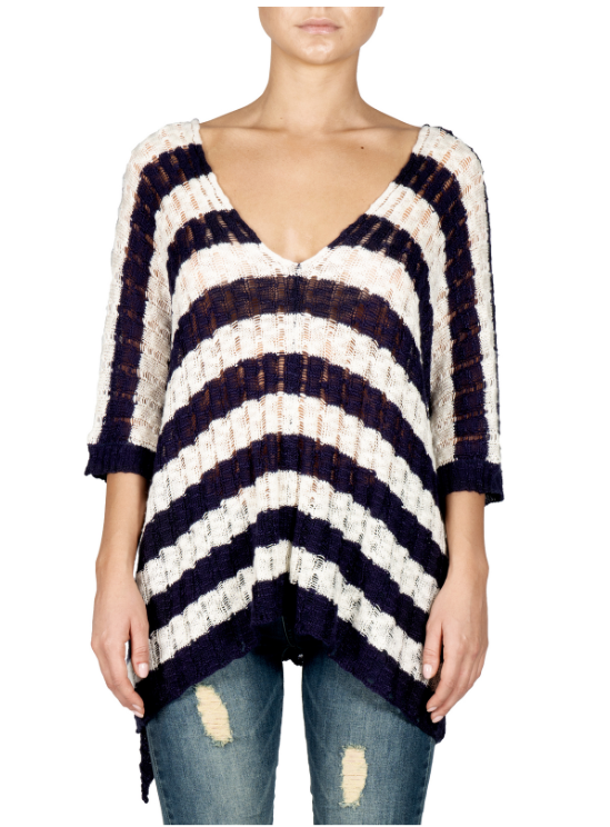 Striped Pullover Short Sleeve Sweater
