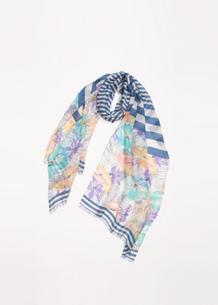 Multi Colored Floral and Stripes Long Scarf