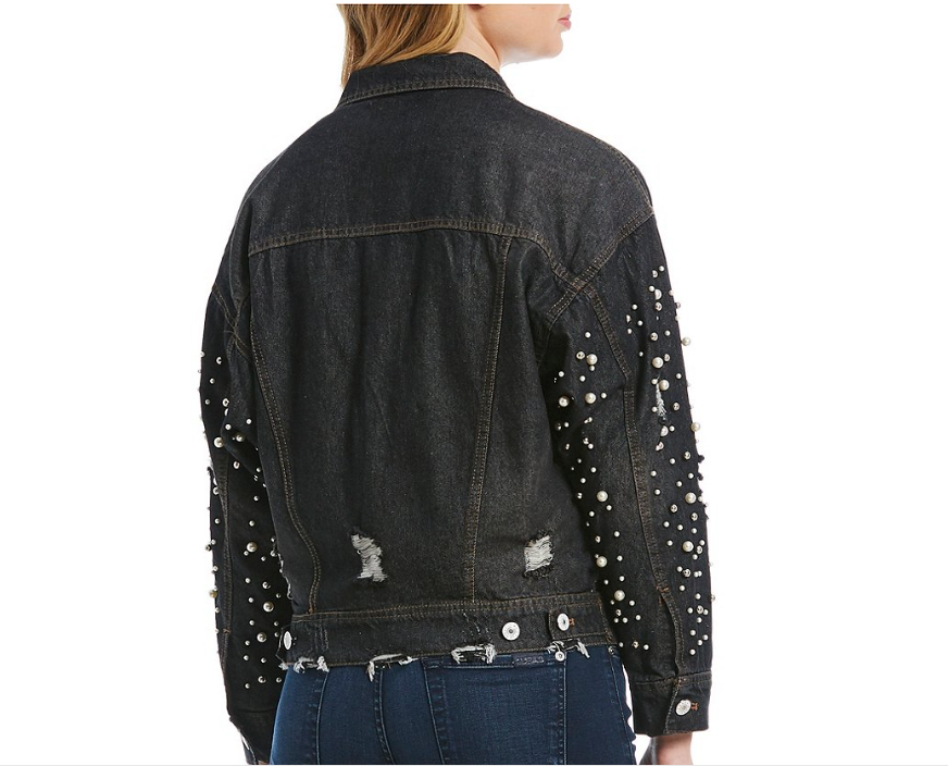 Black Denim Jacket with Faux Pearl Accents