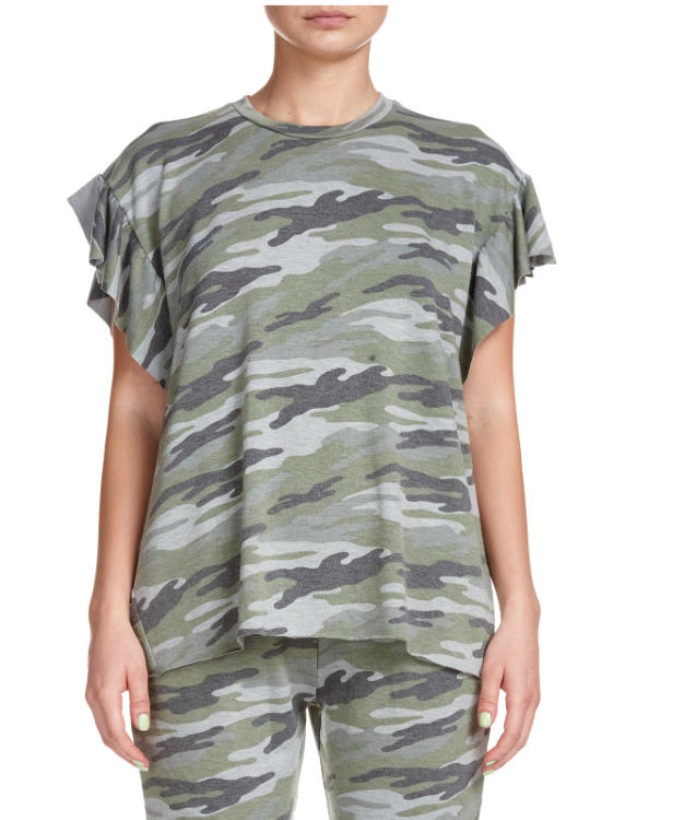 Camouflage Top with Ruffled Short Sleeves