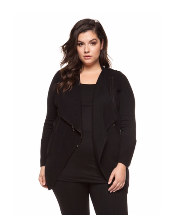 Plus Size Black Long Sleeve Zip Sweater