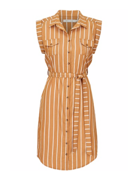 Muted Rust Striped Button Front Dress