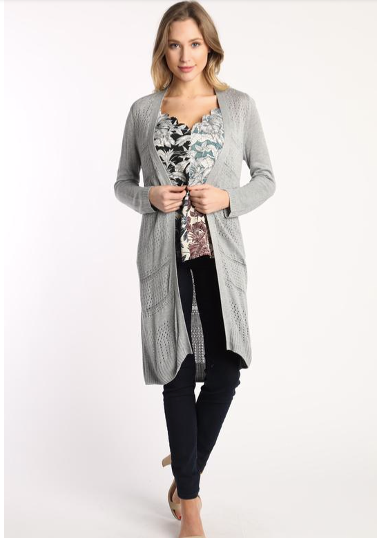 Lightweight Grey Pointelle Long Cardigan