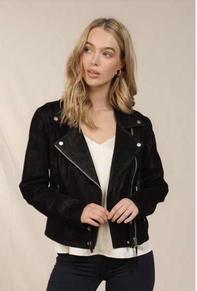 Black Faux Suede Moto Jacket
