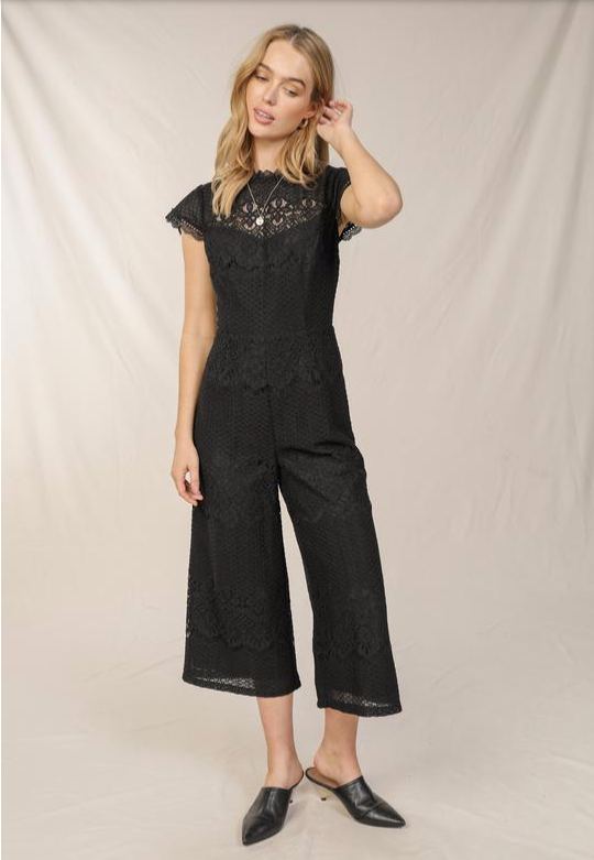 Black Lace Scallop Jumpsuit