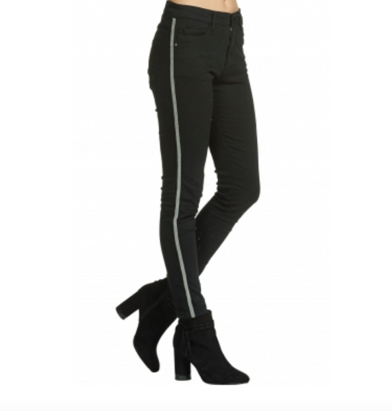 Black Skinny Jeans with Sliver Side Seam