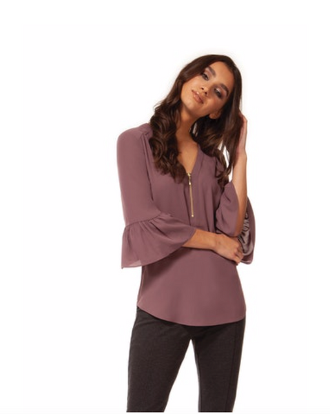 Plum Zip Front Top with Ruffle Sleeve