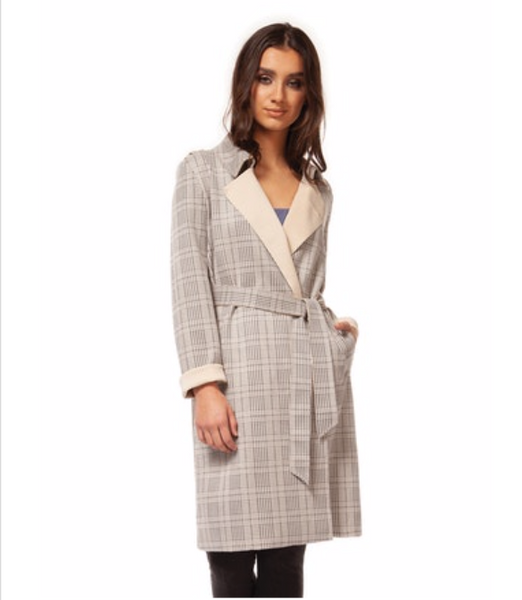 Houndstooth Trench Coat with Self Belt
