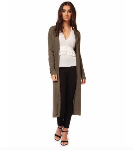 Long Sleeve Ribbed Duster Cardigan