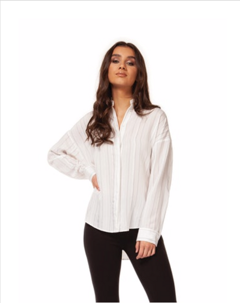White Button Down with Black Pinstripes