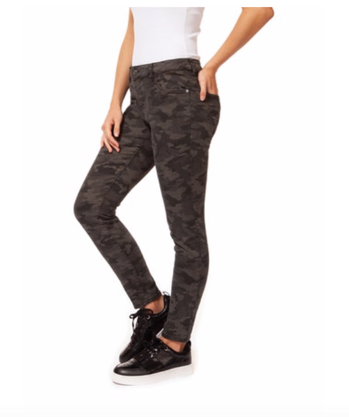 Dark Camouflage Regular Rise Slim Denim