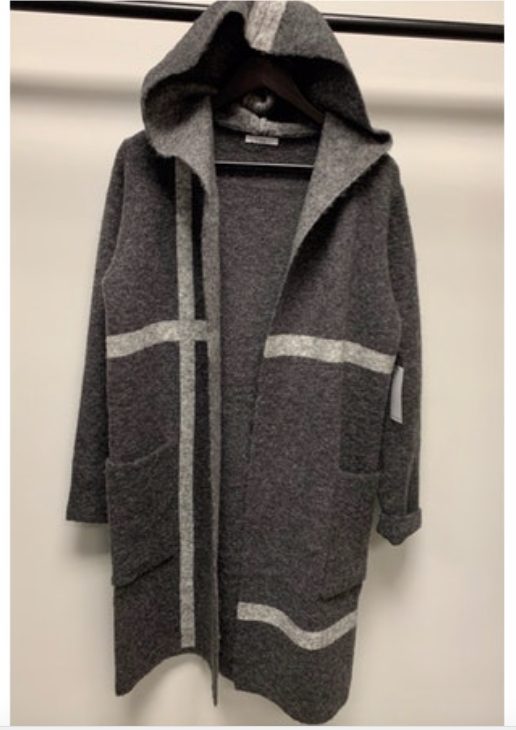 Charcoal Grey Check Cardigan Hoodie