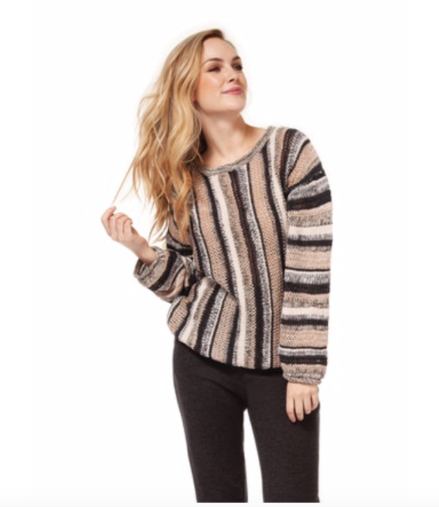 Multi Stripe Crew Neck Sweater