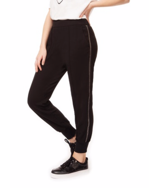 Black Joggers with Side Beading