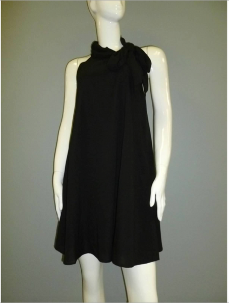 Black Mock Tie Neck Chiffon Dress