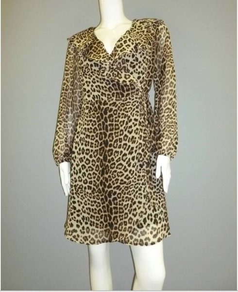 Chiffon Animal Print Ruffled Wrap Dress