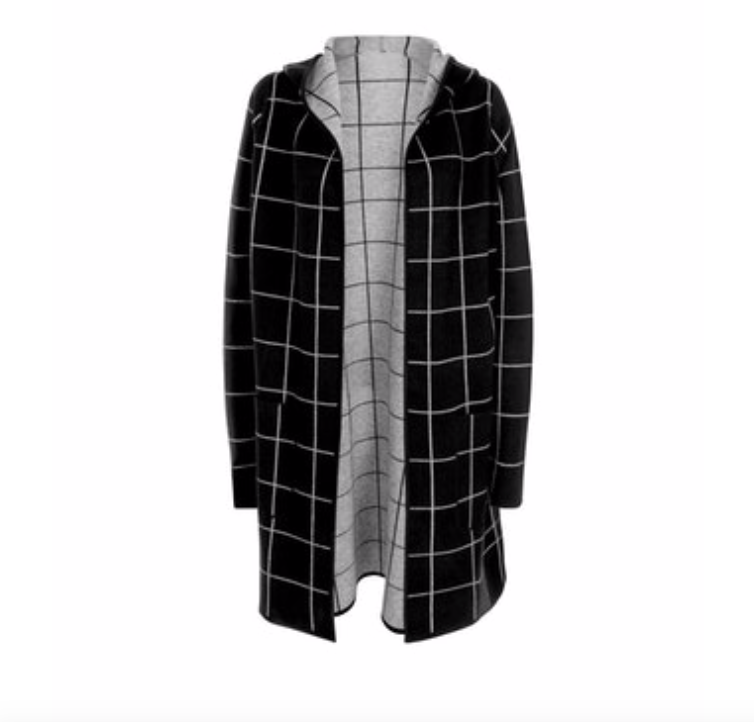 Plus Size Black and Grey Checked Hooded Cardigan