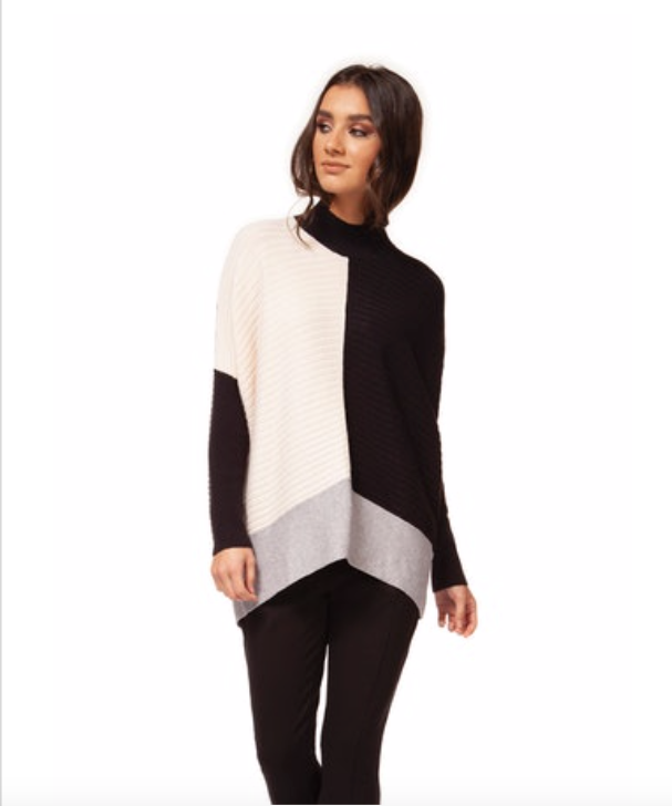 Black Color Block Mock Turtleneck Sweater