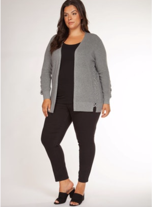 Plus Size Grey Side Lace Up Cardigan