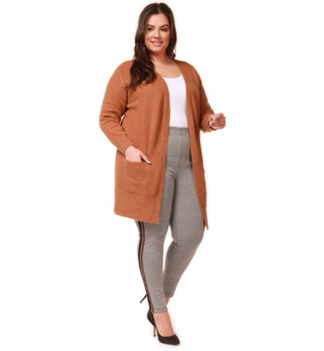 Plus Size Camel Cardigan Sweater with Pockets