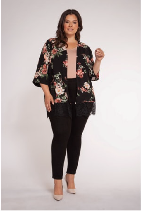 Plus Size Black Floral Kimono with Lace Hem